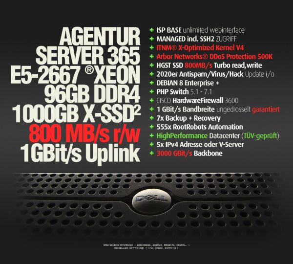 AgenturPaket 100% Netz, 3xCluster, Intel XEON, 96 GB DDR3, 1TB SSD RAID1